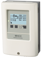 Weather-compensated heating controller for a controlled heating circuit with heat request