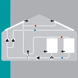 Solaire avec 2 capteur, vanne, 2 pompe, 2 ballons, échangeur de chaleur et pompe