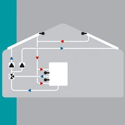 Solaire avec 2 capteur, ballon bi-zones, 2 pompes et vanne de commutation