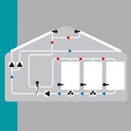 Solaire avec 2 capteur avec 2 pompes, 3 ballons, échangeur de chaleur et la pompe