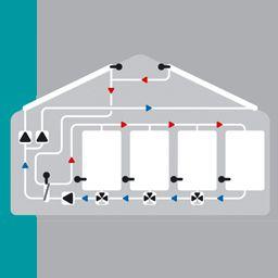 Solaire avec 2 capteur, 4 ballons, 3 pompes, 3 vannes de commutation et échangeur de chaleur