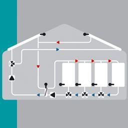 Solaire avec 2 capteur, 4 ballons, 2 pompes, 3 vannes de commutation et échangeur de chaleur