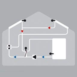 Solaire avec 2 capteur, ballon, échangeur de chaleur et valve
