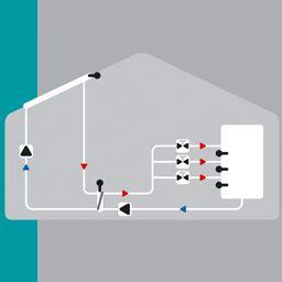 Solaire avec un ballon 3-zones, 3 soupapes d'arrêt et échangeur de chaleur