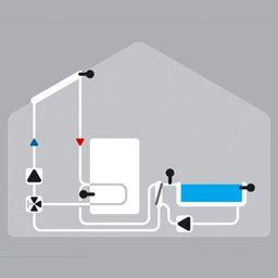 Solaire avec piscine, ballon, échangeur de chaleur et valve